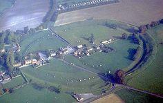 Aerial View of Avebury Stone Ring surrounding the village of Avebury
