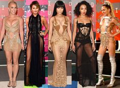 """Em looks de festa o grande destaque do VMA 2015 foram os naked dresses, ou """"vestidos nu"""", em tradução livre. Uma nova tendência que ganhou força em 2015, quando Beyoncé, Kim Kardashian e Jennifer L..."""