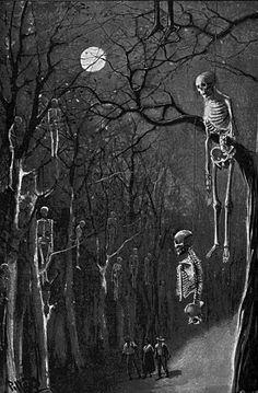 In the woods at night. Arte Horror, Horror Art, Halloween Art, Vintage Halloween, Creepy Art, Scary, Arte Peculiar, Images Gif, Skeleton Art