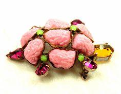 Vintage Schreiner Turtle Brooch, Unsigned, Pink Art Glass, Fuchsia & Amber Rhinestones