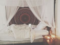 Dreamy boho bedroom with canopy and fairy lights- ahh! Description from pinterest.com. I searched for this on bing.com/images