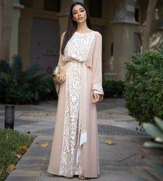 Aliya- stunning georgette kaftan dress with lots of detailing, is the perfect choice for Ramadan and flattering on all body shapes Abaya Fashion, Modest Fashion, Muslim Fashion, Diy Fashion, Fashion Ideas, Fashion Dresses, Silk Satin Dress, Crepe Dress, White Kaftan