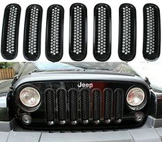 Black Front Grill Mesh Grille Insert Kit For Jeep Wrangler Rubicon Sahara Jk 2007-2015 7PC SunroadTek
