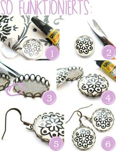 DIY: Ohrringe selber machen mit Cabachons (Anleitung) DIY: Making earrings yourself with cabachons (instructions) Diy Cabochon Earrings, Cabochons, Diy Schmuck, Schmuck Design, Discount Jewelry, Pinterest Diy, How To Make Earrings, Metal Jewelry, Making Ideas