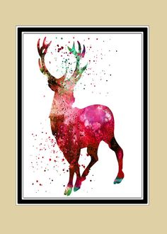 Harry Potter inspired Stag Patronus watercolor print by RosalisArt