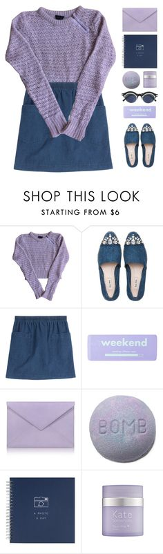 """""""Denim Accessories"""" by via-m ❤ liked on Polyvore featuring Topshop, Miu Miu, A.P.C., claire's, Pineider, Kate Somerville, Matsuda, Spring, purple and denim"""
