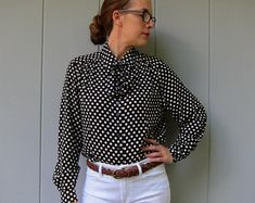 Vintage Tops, Polka Dot Top, Etsy, Shopping, Women, Fashion, Moda, Fasion, Fashion Illustrations
