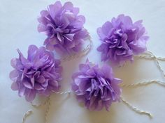 Purple party decor! Mini Lilac Paper Rose Napkin Rings/Place Card by ellenorshop.