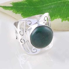EXCLUSIVE MALACHITE RING 925 STERLING SILVER ANTIQUE JEWELLERY DJR2428 S-7 #Handmade #Ring