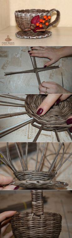 Плетем чашку-конфетницу из газетных трубочек