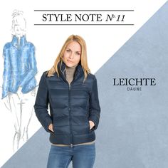 BUGATTI STYLE NOTE | Sport meets elegance! The super light down jacket spends a wonderful feminin silhouette and also warms you at cool evenings.  #bugattifashion #newseason #womenswear #downjacket