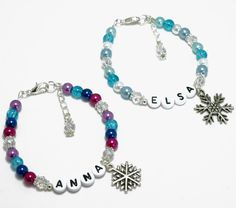 Personalised Disney Princess Frozen Themed Elsa Anna Snowflake Charm Bracelet