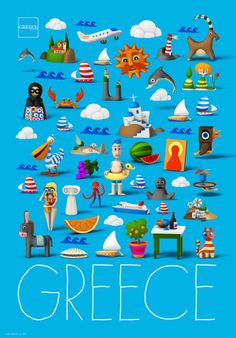 """""""Greece: the richest place in the world"""" by Beetroot…as long as we can get rid of some """"setbacks""""! The wonderful beaches, unique products, exquisite services and the hospitality, Greece is known for,. Greece Tourism, Greece Travel, Old Posters, Greek Design, Tourism Poster, Greek Culture, Travel Illustration, Poster Pictures, Vintage Travel Posters"""
