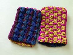 Checkerboard Cuffs is a Crochet pattern. This pattern is rated as being Easy + (Level Finished size is Finished Width 4 in. Free Crochet, Knit Crochet, Sport Weight Yarn, Crochet Gloves, Lion Brand Yarn, Crochet Accessories, Crochet Projects, Diy Projects, Hand Warmers