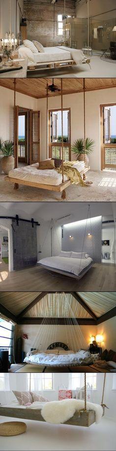 DIY hanging bedroom beds.