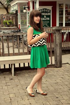 green, with chevron striped accessories
