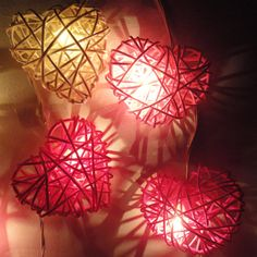 20 Mix Red-White-Pink Heart Rattan Lover Fairy Lights String 3m Valentine Home Decor