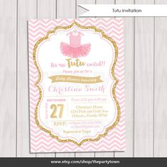 Tutu Pink and Gold Baby Shower Invitation by ThePartyTown on Etsy
