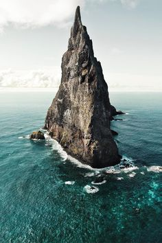 Slicing the ocean like a giant, petrified, shark's fin: Ball's Pyramid, Lord Howe Island Marine Park in Australia