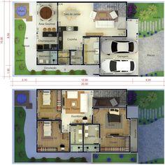 Plano de casa con fachada moderna. Plano para terreno 10x20 Dream House Plans, House Floor Plans, My Dream Home, House Architecture Styles, Villa Plan, Village Houses, Facade House, House Layouts, Home Projects