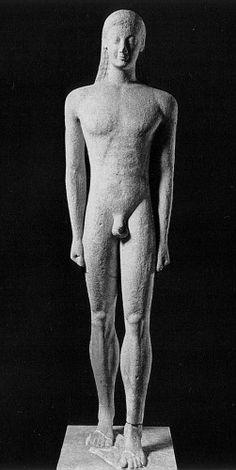 Kouros di Milo; 550-540 a.C ca; marmo a tutto tondo; Atene, Museo Archeologico Nazionale