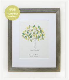 free thumb print guestbook - designed for a wedding, but might be cool for an anniversary party, birthday or even for a new baby.