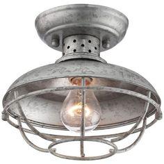 "Franklin Park 8 1/2"" Wide Galvanized Outdoor Ceiling Light -"
