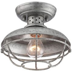 "Franklin Park 8 1/2"" Wide Galvanized Outdoor Ceiling Light -"