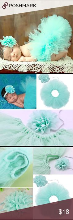 Newborn baby girl Tutu Headband Gift Set Spring Welcome to Dream BIG little Ones ~ a children's boutique by the sea This posting is for 1 Baby Aqua Too-Too Cute Gift Set. This photo Prop outfit includes 2 pieces, a Tutu & Boutique Headband GREAT FOR SPRING PHOTOS  QUALITY & TRENDY SPRING COLORS - A CUSTOMER FAVORITE This gift set is soft and carefully crafted for a newborn baby girl • Condition is BRAND NEW Color is Baby Aqua One Size ~ Crafted for Baby Girls Newborn-6 months • Lightweight…