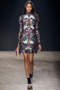 Mary Katrantzou F/W 2014, sheer embroidered dress, beige clutch, tricolor boot heels / Garance Doré