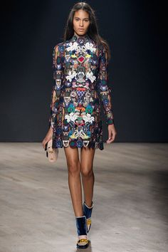 Mary Katrantzou F/W 2014, sheer embroidered dress, beige clutch, tricolor boot heels / Garance Doré