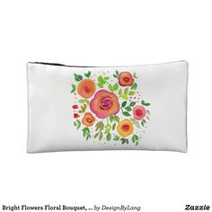 Shop Bright Flowers Floral Bouquet, Watercolor Painting Cosmetic Bag created by DesignByLang. Cosmetic & Toiletry Bags, Bright Flowers, Floral Bouquets, Watercolor Painting, Eyeliner, Floral Design, Cosmetics, Wallet, Glitter Flowers