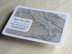 Italy Wedding Save the Date Postcard  Vintage Map  by ImbueYouIDo, $1.75
