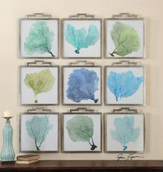 "Grace Feyock 35239 Sea Fan Transitional Wall Art UM-35239 Model# UM-35239 Brand: Grace Feyock Origin: China Height: 19.25"" Width: 17"" Depth: 0.88"" Finish: Plated Oxidized Silver Finish W/ Gray Wash. Material: Iron Weight: 55 lbs set/768"