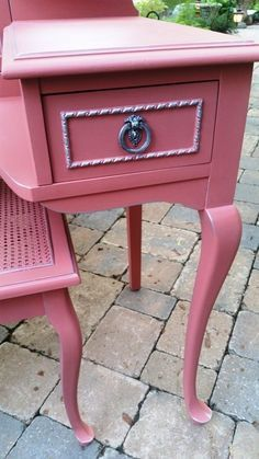 queen anne style antique painted pink desk vanity and bench annie sloan chalk paint silver guilding