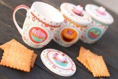 Buona colazione...VILLA D ESTE Set 3 tazze Mug con coperchio pasticcino Vintage