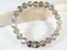 Labradorite Stretch Bracelet 8mm Smooth Round Natural Clear Light Grey High Flash Rainbow Beads AAA Quality by SandiLaneFineArt on Etsy