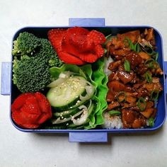 My bento for the day: spicy Asian chicken on sticky rice, smoked sesame cucumber salad, and strawberry roses.  #bento