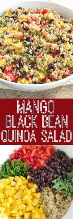 Mango black bean quinoa salad is a light healthy and filling salad. Hearty quinoa and black beans crisp red peppers green onions and cilantro all covered in an easy olive oil vinaigrette dressing. It's also great for lunch too! Veggie Recipes, Whole Food Recipes, Vegetarian Recipes, Cooking Recipes, Healthy Recipes, Cooking Tips, Veggie Food, Avocado Recipes, Healthy Quinoa Recipes