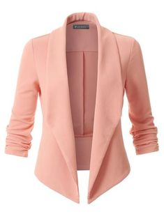 This textured ruched sleeve blazer is an essential to any outfit. A softly draped open-front silhouette softens the look while the asymmetrical hem adds a modern touch to this blazer. Perfect for any occasion.