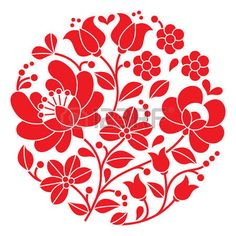 Kalocsai Red Embroidery - Hungarian Round Floral Folk Pattern Stock Illustration - Illustration of needlecraft, motive: 51657630 Hungarian Embroidery, Learn Embroidery, Crewel Embroidery, Freetime Activities, Bordado Popular, Embroidery Designs, Stitch Head, Chain Stitch Embroidery, Motif Floral