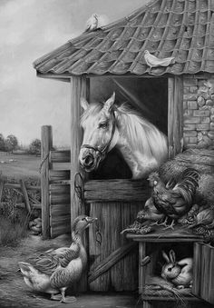 Farmyard Friends Painting by Carl Donner - Farmyard Friends Fine Art Prints and Posters for Sale Friends Poster, Farm Art, Country Art, Country Living, Horse Art, Animal Paintings, Beautiful Paintings, Farm Animals, Painting & Drawing