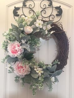 Lambs Ear and Pink Peonies grapevine wreath