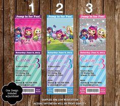 Nick Jr Little Charmers Birthday Party Ticket Invitation 5th Birthday, Birthday Ideas, Birthday Parties, Personalized Invitations, Custom Invitations, Little Charmers, Party Tickets, Ticket Invitation, Nick Jr