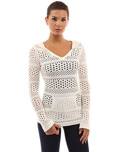 PattyBoutik Women's Hoodie Open Stitch Knit Top -- You can get more details by clicking on the image.