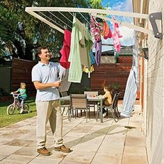 A Clothesline that folds flat.  This isn't that expensive, but it would probably be just as easy to make if you were skilled enough.  I like that it folds flat, and would have the perfect area for it in my side yard because of that.
