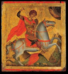 St George on Horseback, Slaying the Dragon. The icon is signed by the famous Cretan painter Angelos Akotandos, who apparently defined the way this. Byzantine Icons, Byzantine Art, Benaki Museum, Greek Icons, Saint George And The Dragon, Roman Gods, Google Art Project, Russian Icons, Greek Art