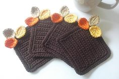 Crochet Coasters Fall Leaves - no pattern