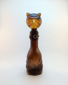 Vintage Amber Glass Cat Decanter