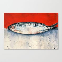 red fish Stretched Canvas by Denise Comeau - $85.00 Painted Boxes, Red Fish, Stretched Canvas, Canvases, Watercolour Painting, Artisan, Iphone Cases, Art Prints, Artwork